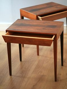 Severin Hansen; Rosewood Side Tables for Haslev, 1950s.