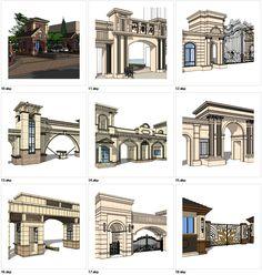 ★Sketchup Types of Neoclassicism Style Entrance Design Sketchup Sketchup models collection can be used in your design max,Revit) Door Gate Design, Entrance Design, Entrance Gates, 3d Model Architecture, Concept Architecture, Architecture Details, Minimal House Design, 3d Design Software, 3d Warehouse