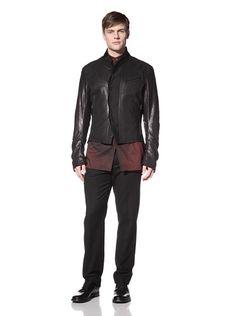 70% OFF Ann Demeulemeester Men\'s Leather Jacket (Black/Prestige Black)
