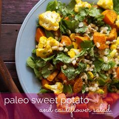 Find hundreds of Paleo Food Recipes just like this Paleo Sweet Potato and Cauliflower Salad! They're all quick easy & delicious! Get your FREE recipe eBook! Cauliflower Mashed Potatoes, Cauliflower Dishes, Cauliflower Salad, Mashed Sweet Potatoes, Paleo Food List, Paleo Recipes, Side Salad Recipes, Healthy Salads, Healthy Sides