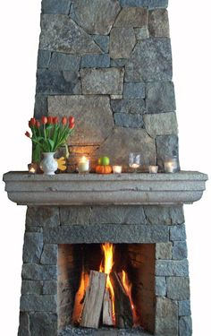 Rumford Fireplace -  Love the stone