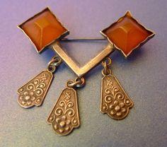 k2 Latvia Jewelry Orange Baltic Amber gems SILVER 875 BROOCH PIN marked RG1