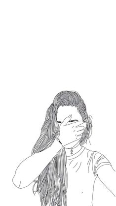 Tumblr Girl Drawing, Tumblr Drawings, Girly Drawings, Outline Drawings, Drawing Wallpaper, Tumblr Wallpaper, Girl Wallpaper, Cute Backgrounds, Cute Wallpapers