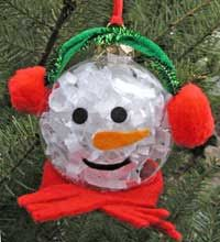 Snowman ornament! Made with felt, pipe cleaners, pom poms and a glue gun!