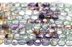 Multi Fluorite Smooth Oval Quality B / A by GemstoneWholesaler