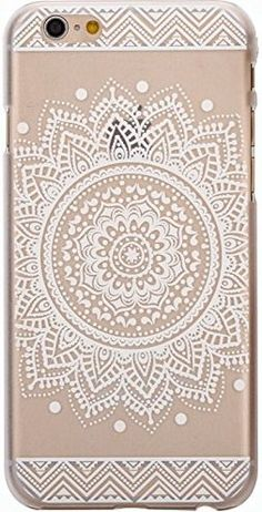 iPhone 6 Case, LUOLNH Henna Full Mandala Floral Dream Catcher Hard Plastic Clear Case Silicone Skin Cover for Apple Iphone 6 4.7 inch Screen