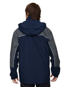 Ash City - North End Men's 3-in-1 Seam-Sealed Mid-Length Jacket with Piping Navy Back