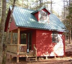 Small Cabin Plans with Loft and Porch | Tiny Cabin Plans ....SWEET....loft not for sleep nook instead smaller ...