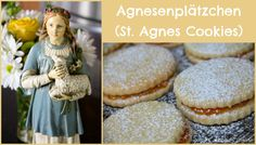 In honor of today& feast of St. Agnes I finally had the opportunity to bake Agnesenplätzchen (St. Agnes Cookies), with lots of help fro. Catholic Feast Days, Catholic Kids, Catholic Liturgical Calendar, German Cookies, St Agnes, Power Of Prayer, Little Flowers, Shortbread Cookies, Sugar And Spice