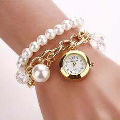 Good Women Artificial Pearl Rhinestone Watches
