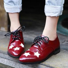HOT Womens Pointed Shoes Blocked Heel Star Patter Vintage Oxfords Lace Up Shoes