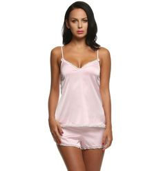 Women Clothes Summer Shorts Sets V-Neck Sleepwear Satin Pajama Women'S Pajamas Spaghetti Strap Lace Pajama Set Pink XXL Summer Pajamas, Sexy Pajamas, Satin Pajamas, Pajamas Women, Comfy Pajamas, Pjs, Pyjamas, Sleepwear Sets, Sleepwear Women
