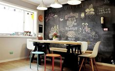 I would love a chalk board wall in my house! Dinner time in Taiwan Dining Area, Kitchen Dining, Dining Room, 3 Living Rooms, Ms Gs, Home Kitchens, Ikea, Sweet Home, Inspiration
