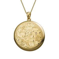 Large Round Engraved Gold Locket