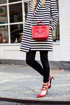 lovely striped coat and red accessories
