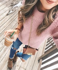 Love the sweater and jeans but I would wear different boots/shoes