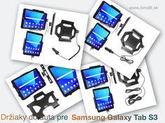 Nové držiaky do auta pre Samsung Galaxy Tab S3 9.7. Pasívny držiak Brodit pre pevnú montáž v aute, aktívny s CL nabíjačkou, s USB alebo s Molex konektorom.