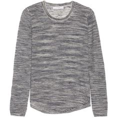 IRO - Anemone Striped Linen-blend Sweater ($132) ❤ liked on Polyvore featuring tops, sweaters, midnight blue, stripe crop top, striped top, cropped sweaters, stripe sweater and cut-out crop tops