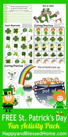 FREE St Patricks Day Printables from HappyandBlessedHome.com with coloring, do-a-dot, cutting, counting, tracing, writing, and more #StPatricksDay #FreePrintables #PreschoolActivities