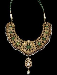 Jewelry | Gold Necklace with Enamel work studded with Diamond, Ruby and Pearl - The Curator's Eye
