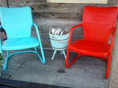 Two refurbished old metal motel lawn chairs by HappyHomeAustin, $160.00