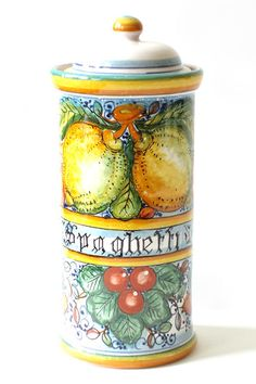 spaghetti canister. Italian pottery is so functional and beautiful.