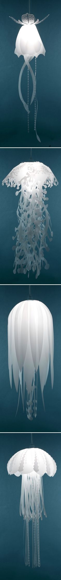 Jelly Fish Hanging Lamps  I had a sea themed bathroom when I was younger. These would have been so cool I. It