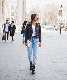 jeans and leather jacket