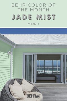 The Behr Paint Color of the Month isn't just for the interior of your home! Upgrade your curb appeal by using Jade Mist on the exterior of your home, too. It's sure to add peaceful pop of pastel color, especially on a lake or beach house. Click below for more home decor inspiration.