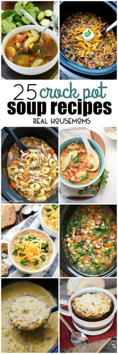 These 25 CROCK POT SOUP RECIPES are pure comfort food to warm you through and through. So are creamy, some are meaty, but theyre all crazy good and surprisingly easy to make! Crock Pot Soup, Crockpot Dishes, Crock Pot Slow Cooker, Crock Pot Cooking, Pressure Cooker Recipes, Crockpot Recipes, Soup Recipes, Cooking Recipes, Crock Pots