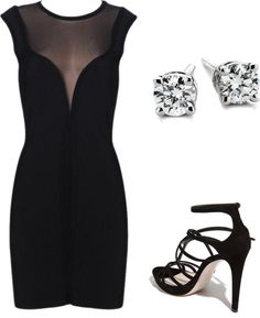 Little black dress basic, created by vespachicky on Polyvore.  Lol I'd have to be feeling brave to wear this.