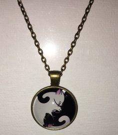 "Yin Yang Cat Pendant Antique Finish With 26"" Chain  | eBay"