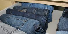 Jeans rollen eine tolle Idee für die Kleiderschrank Organisation
