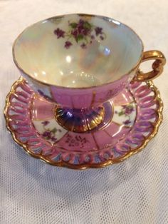 Vintage-Japan-Tea-Cup-and-Saucer-Violets-with-Gold-Gilt-and-Mother-of-Pearl