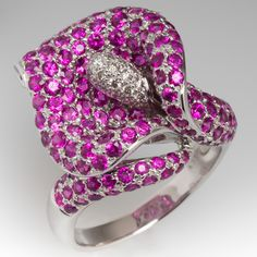 Calla Lily Ruby & Diamond Cocktail Ring in 18k White Gold
