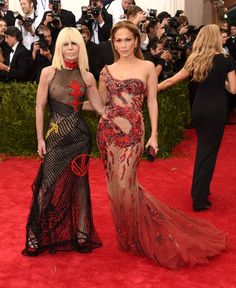 Pin for Later: Get a Load of All the Glamour on the Met Gala Red Carpet! Donatella Versace and Jennifer Lopez