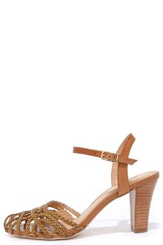 Seychelles Precious Tan Woven High Heel -Braided faux leather is woven into a cute closed toe, paired with a genuine leather ankle strap  Sandals at Lulus.com!