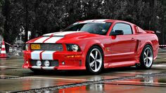 Maarten Memorial 2010 A modern reïncarnation of the notorious 'Eleanor'. Quite a nice modification of the Ford Mustang, in my opinion. 2007 Ford Mustang, Red Mustang, Ford Mustang Shelby Gt500, Mustang Cars, Ford Mustangs, Ferrari, Best Muscle Cars, Ford Classic Cars, Bmw Cars
