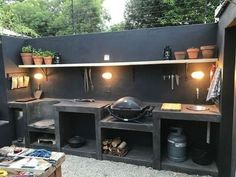 30 Insanely Smart DIY Kitchen Storage Ideas – Best Home Ideas and Inspiration If you have the space in your yard, check out the outdoor kitchen ideas total with bars, seating areas, storage space, as well as grills. Outdoor Kitchen Bars, Outdoor Kitchen Design, Outdoor Cooking Area, Patio Kitchen, Patio Bar, Small Outdoor Kitchens, Kitchen Cost, Dirty Kitchen, Kitchen Grill