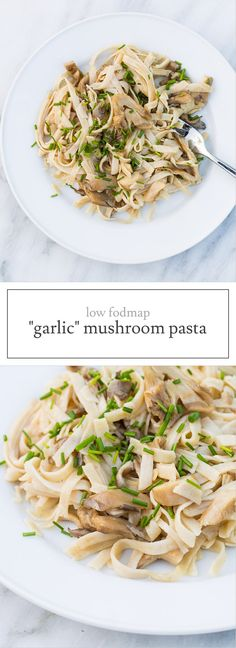 """This simple Low FODMAP """"Garlic"""" Mushroom Pasta recipe incorporates garlic-infused olive oil and (low FODMAP) oyster mushrooms for one delectable dish!"""