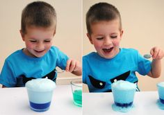 fizzy magic rocks, one clear container, fill halfway with white vinegar. add one quirt of washing up liquid,add a few drops of food coloring then add a heaped teaspoon of baking soda = super fun! Preschool Science, Craft Activities For Kids, Science For Kids, Science Activities, Science Projects, Science Experiments, Fun Projects, Crafts For Kids, Volcano Projects