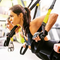 TRX or any suspension type exercise makes the most of bodyweight workouts. Working shoulders biceps and chest here.