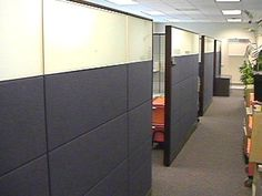 More privacy and easier time blocking out the office din - Joyce Office Cube, The Office, Office Ideas, Cubicle Walls, Toledo Ohio, Concept Board, Office Spaces, Pharmacy, Cubes