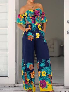 Floral Print Bell Sleeve Tie Back Wide Leg Jumpsuits Find More Stylish Women Swimwear, Dresses, Jumpsuits, Sets, Tops & Bottoms. Trend Fashion, Fashion Mode, Summer Outfits, Cute Outfits, Summer Dresses, Couture, Jumpsuits For Women, Pattern Fashion, African Fashion