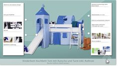 weißes halbhohes Bett mit Rutsche und Turm - Buche Massivholz 90x200 cm