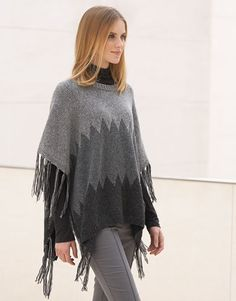 Revista mujer Concept 1 Otoño / Invierno   9: Mujer Poncho   Gris claro / Gris oscuro / Gris muy oscuro