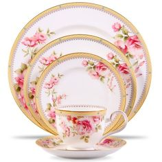 Features:  -Five piece place setting.  -Dishwasher safe.  -Hertford collection.  -Accent Color: Pink and gold.  -Pieces Included: One dinner plate, one salad plate, one bread & butter plate, one cup,