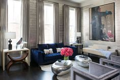Interior designer Wendy Labrum featured Gilded Age 5762 Socialite Silver in the living room of a client's home.