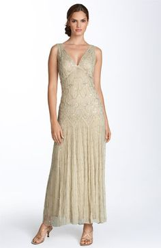 romantic beaded gown. antiqued color. wedding dress