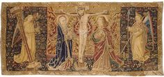 Title: Tapestry: The Crucifixion with the Virgin, St John and Angels with the Instruments of the Passion Place of creation: France Date: Late 15th - early 16th century School: Touraine or Aubusson Material: wool and silk Inventory Number: Т-2938